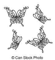 vector of silhouettes of grass flowers and butterflies csp3976788