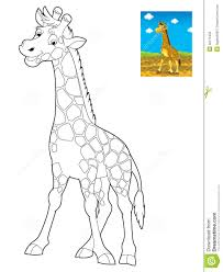 cartoon safari coloring page for the children stock photography