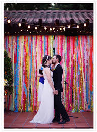 wedding vow backdrop rainbow wedding rainbow colored streamer backdrop wedding