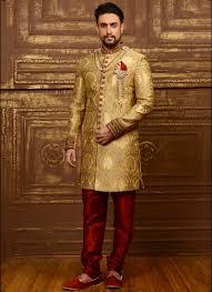 golden wedding wear indo western sherwani with cutdana work