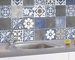 Tile Decals For Kitchen Backsplash Backsplash Decal Vinyl Backsplash Yellow Gray Tiles