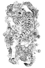 japanese flowers and tiger design