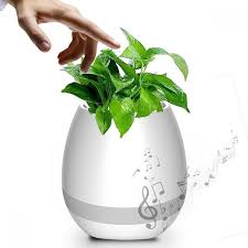 smart finger touch bluetooth speakers music flower pot planter