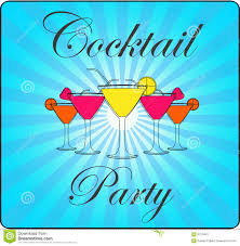 retro cocktail party words cocktail party with blue lines retro background stock