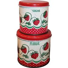 Large Kitchen Canisters Vintage Wolverine Tin Toy Strawberry Kitchen Canisters From