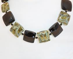 bead necklace gold images Black and gold square bead necklace murano glass jewelry jpg