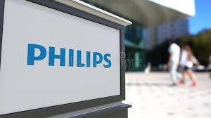 le de bureau philips panneau de signage de rue avec le logo de philips centre brouillé