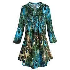 catalog classics women u0027s tunic top green u0026 blue peacock feathers