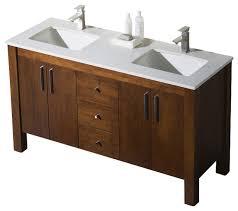 Double Vanity Tops For Bathrooms 60 Double Sink Vanity Chestnut White Sink White Quartz
