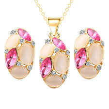 new fashion jewelry necklace images Classic ruili crystal necklace earrings oval shape design new jpg