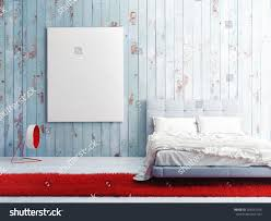 poster on blue wooden wall bedroom stock illustration 256547356