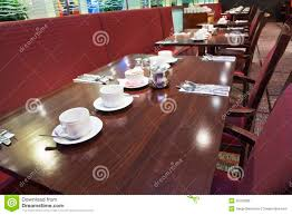 restaurant table setup for breakfast stock photography image