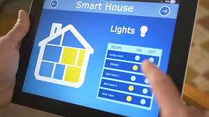 4k smart house automation lights control on tablet stock video