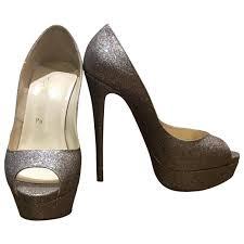 silver glitter christian louboutin heels vestiaire collective
