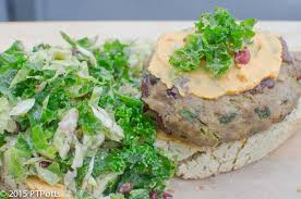 thanksgiving turkey burger w sweet potato hummus kale brussels