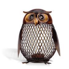 amazon com tooarts owl shaped metal coin bank box handwork