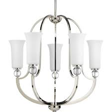 Thomasville Chandeliers Progress Lighting Caress Collection 3 Light Polished Nickel