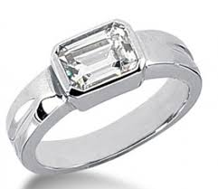 horizontal emerald cut engagement ring bezel set emerald cut engagement ring 1607 in solitaire