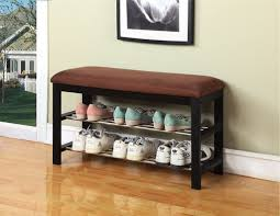 Small Hall Bench Shoe Storage Black Chocolate Micro Fabric Shoe Rack Storage Pictures On