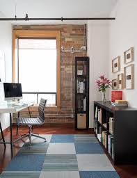 27 ingenious industrial home offices with modern flair gorgeous rug adds a touch of softness to the home office design pause architecture