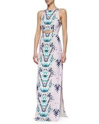 mara hoffman mixed print cutout maxi dress