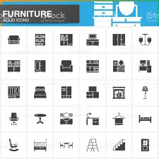 furniture vector icons set home interior modern solid symbol