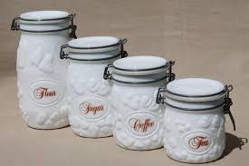 glass kitchen canister set vintage milk glass canister set wheaton country orchard kitchen