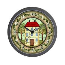 amazon com cafepress primitive folk art country home wall clock
