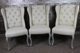 Dining Armchairs French Upholstered Dining Chairs In Cream Linen