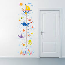 popular bathroom height buy cheap bathroom height lots from china cartoon shark fish boat height measure wall sticker for kids room growth chart wall decals posters