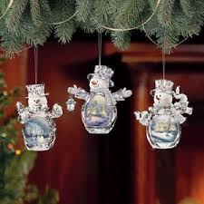 snowmen winter reflections 2 kinkade ornaments