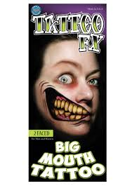 cat fangs halloween 2 faced temporary big mouth tattoo
