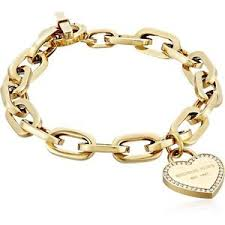 heart link charm bracelet images New michael kors gold tone crystal trim heart chain link charm jpg