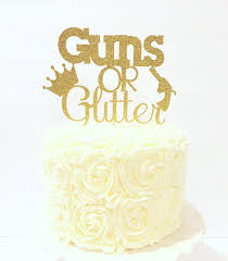 glitter cake topper guns or glitter cake topper gender reveal cake topper