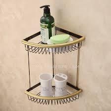 Bathroom Corner Shelving Designer Triangle Wire Antique Bronze Bathroom Corner Shelves