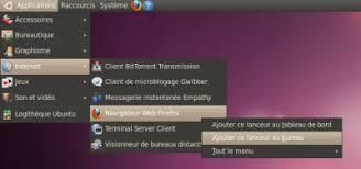 mettre un raccourci sur le bureau raccourci lanceur wiki ubuntu fr