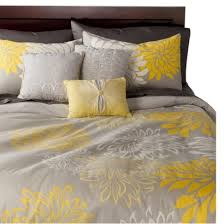 Yellow Duvet Cover King Anya 6 Piece Floral Print Duvet Cover Set Gray Yellow A