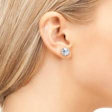 earring studs 14k diamond simulated 2ct post stud earrings cate