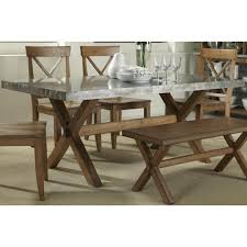 Keaton Rectangle Trestle Dining Table With Metal Top Rotmans - Trestle kitchen table