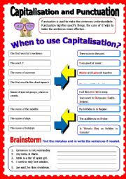 worksheet capitalisation and punctuation