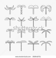 graphical tree set linear style stock vector 275221211