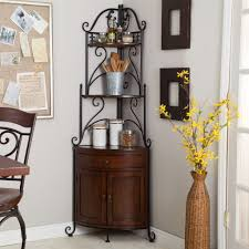 Wood Bakers Rack Corner Bakers Rack With Wrought Iron Frame And Wood Storage Image