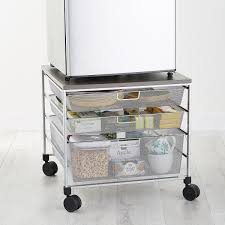 Desk Top Printer Stand by Fridge Cart Platinum Elfa Mesh Compact Fridge Cart The