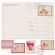 timbre poste mariage invitation de mariage carte postale vintage avec des timbres