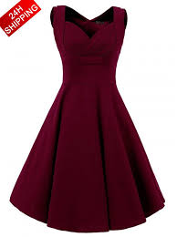 party dress buy women vintage style square neck knee length burgundy swing