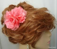 flower hair clip coral hair set of 2 flower hair clip wedding