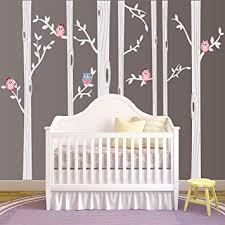 White Tree Wall Decal Nursery Nursery Birch Tree Wall Decal Set With Owl Birds