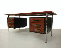 midcentury rosewood and chrome desk with leather handles at 1stdibs