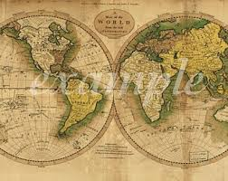 antique map world vintage world map etsy