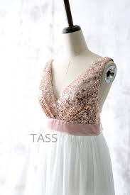 sequin chiffon bridesmaid dresses with bow rose gold sequin